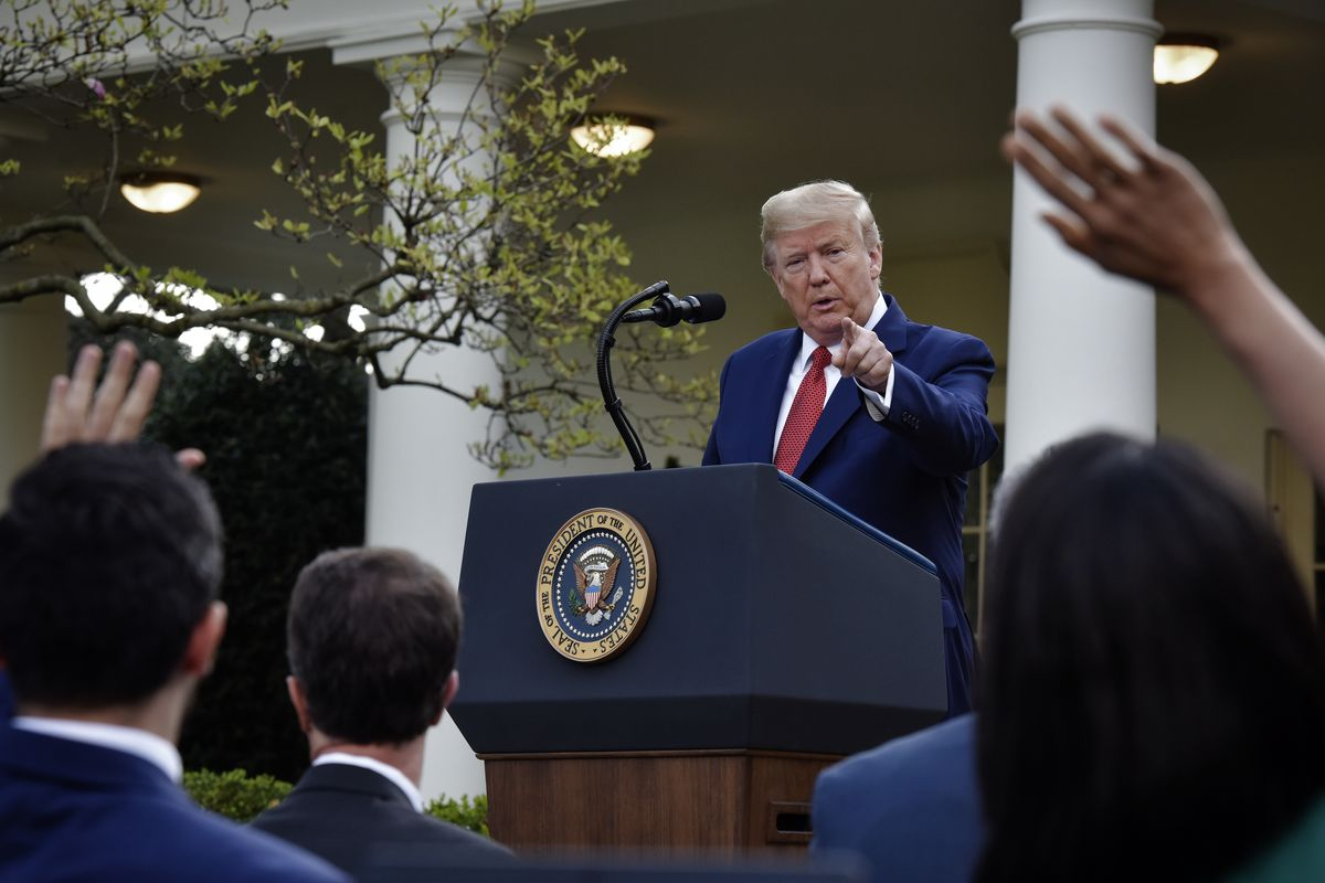 Trump, in a blue suit and red tie and at a podium with the presidential seal, points to reporters. He's framed by the trees of the White House Rose Garden.