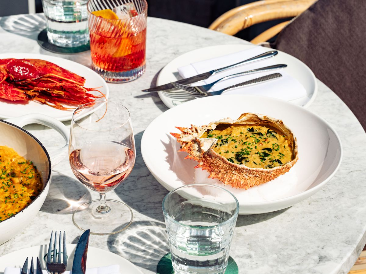 Food and wine at Seabird, the new rooftop restaurant at The Hoxton hotel in Southwark