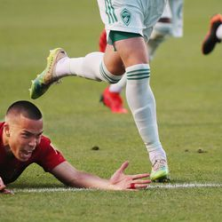 Real Salt Lake forward Bobby Wood (7) yells after being tripped in a game against the Colorado Rapids at Rio Tinto Stadium in Sandy on Saturday, July 24, 2021.