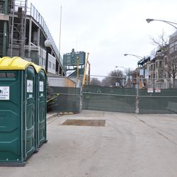 View looking north on Sheffield from Addison with TBOX porta-potties on left