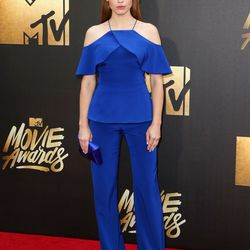 Holland Roden wears a royal blue Christian Siriano look.