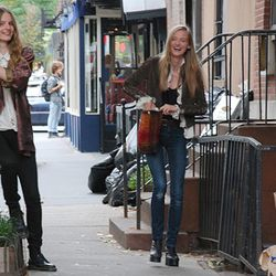 Models frolicking in the West Village post-DKNY show