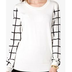 """<b>Forever 21</b> Grid Sleeve Sweater, <a href=""""http://www.forever21.com/Product/Product.aspx?BR=f21&Category=sweater&ProductID=2043874712&VariantID="""">$19.80</a>"""