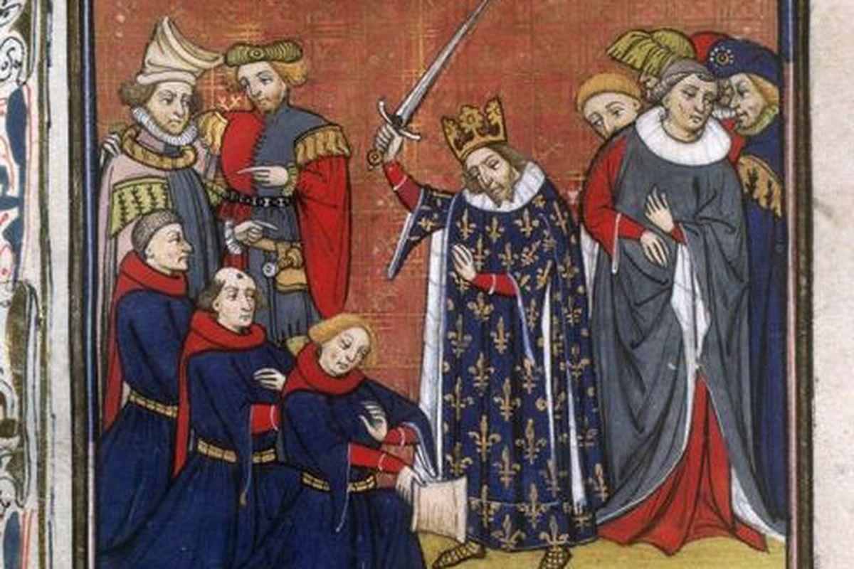 King John II ennobling some knights.