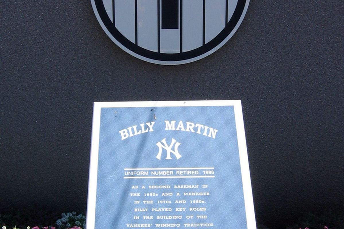 """Billy Martin's number 1 will never be worn by another Yankee. via <a href=""""http://farm1.staticflickr.com/47/191280873_95b8c49a96_o.jpg"""">farm1.staticflickr.com</a>"""