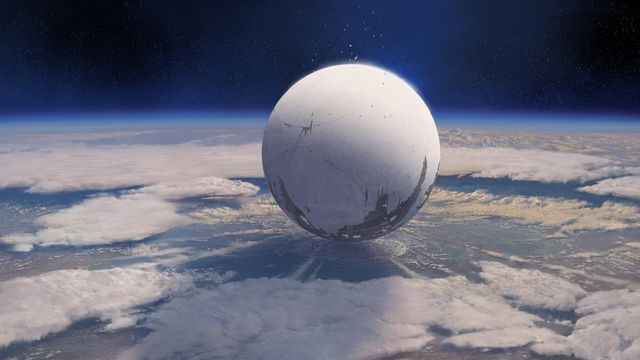 The Traveler hovers over the Last City in <em>Destiny</em>.