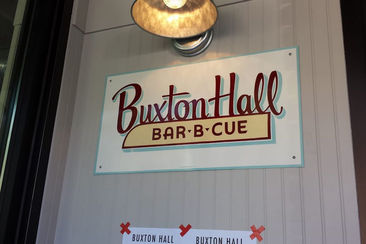 Signage at Buxton Hall Barbecue