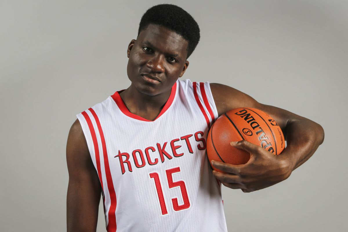 Though Clint Capela can't quite pull off a convincing mean mug here, he could be an intimidating force on the court.