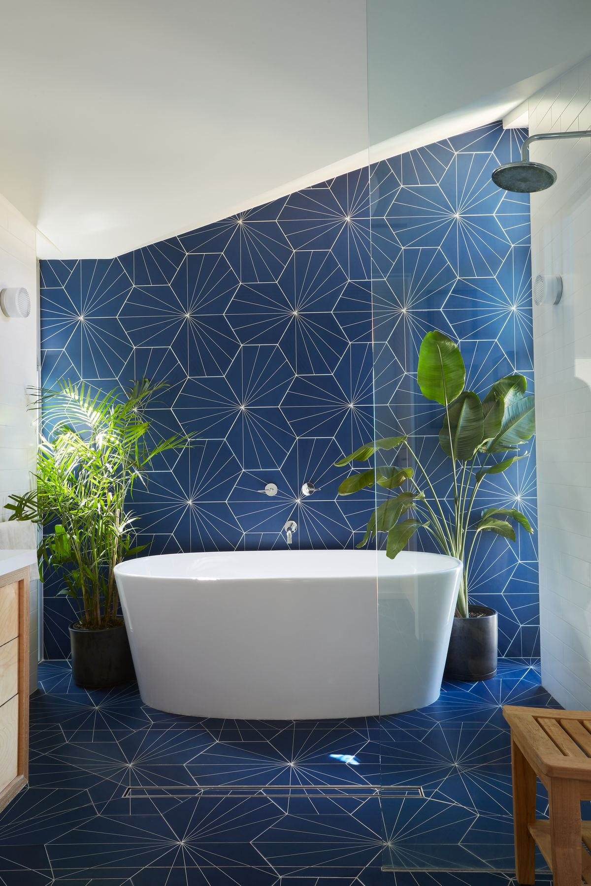 A bathroom with blue and white patterned tiles and a white bath tub. There are plants in planters flanking the tub.