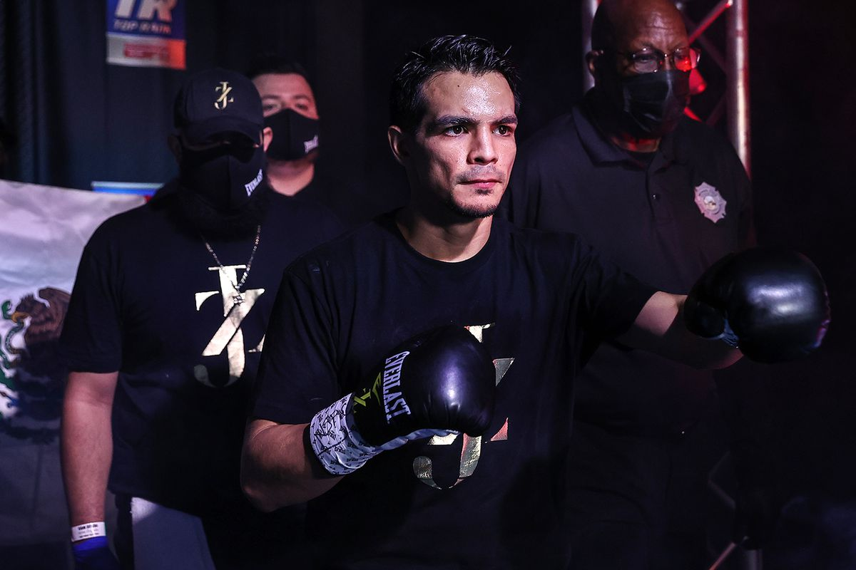 Jose Zepeda walks to the ring before fighting Ivan Baranchyk in their junior welterweight bout at MGM Grand Garden Arena on October 03, 2020 in Las Vegas, Nevada.