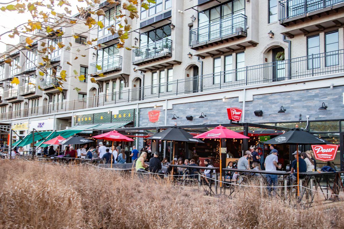 Restaurant patios at SPX Alley in December 2020