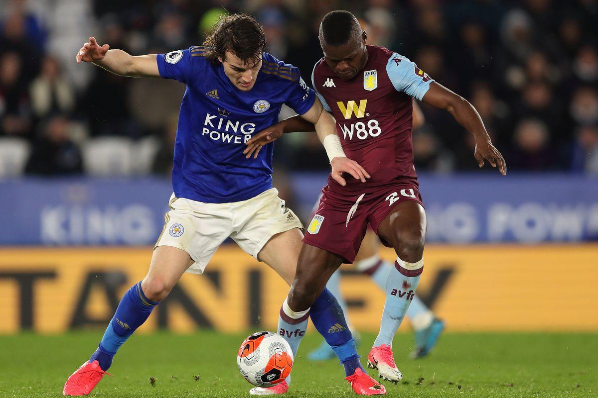 Caglar Soyuncu and Mbwana Samatta - Leicester City v Aston Villa - Premier League