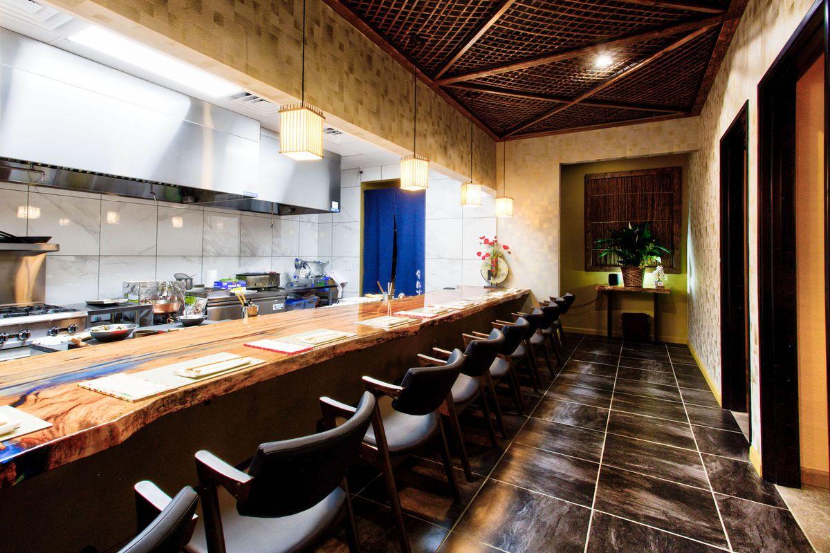 The main dining room at Kaiseki Yuzu