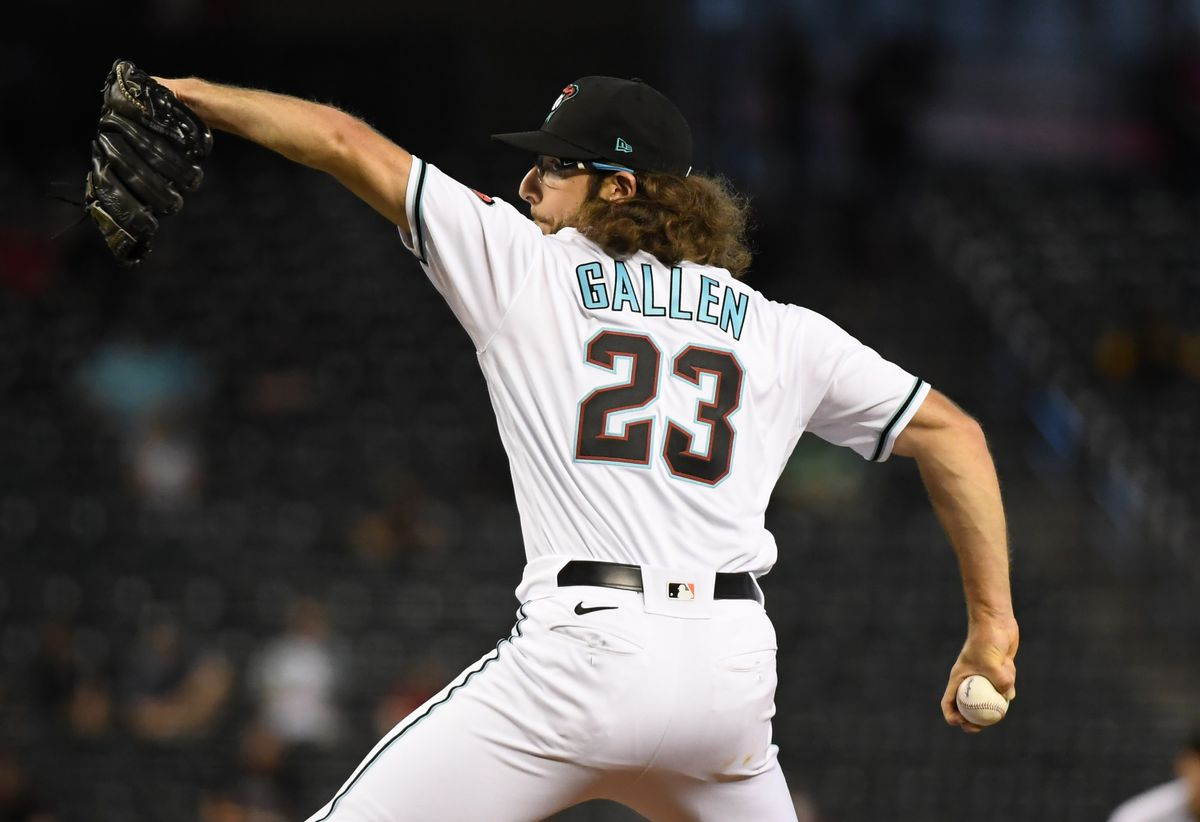 Zac Gallen #23 of the Arizona Diamondbacks delivers a pitch against the Oakland Athletics at Chase Field on April 13, 2021 in Phoenix, Arizona.