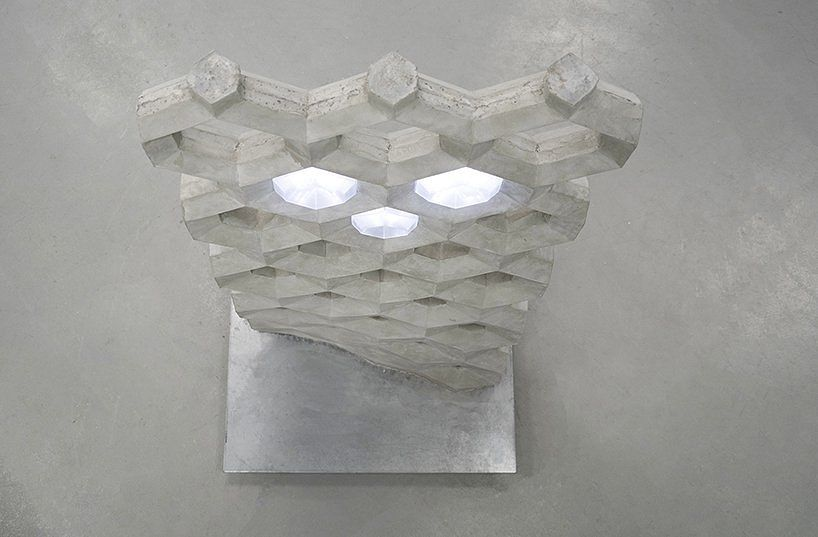Concrete wall with glowing LED lights