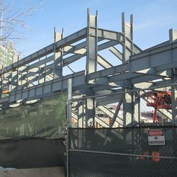 bleachers, seen from the middle of Kenmore Avenue -