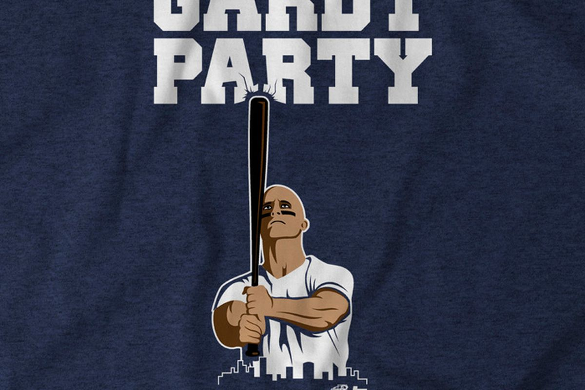 Stand by Brett Gardner with a Gardy Party t-shirt