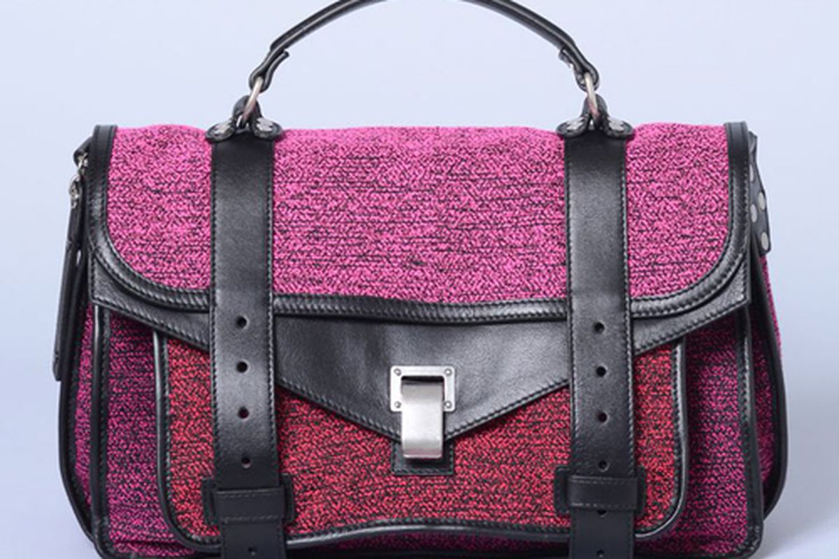 """<b>Proenza Schouler</b> PS1 Medium Ombre Tweed &amp; Leather Bag, <a href=""""http://shopbird.com/product.php?productid=26969&amp;cat=631&amp;manufacturerid=&amp;page=1"""">Price upon request</a> at Bird"""