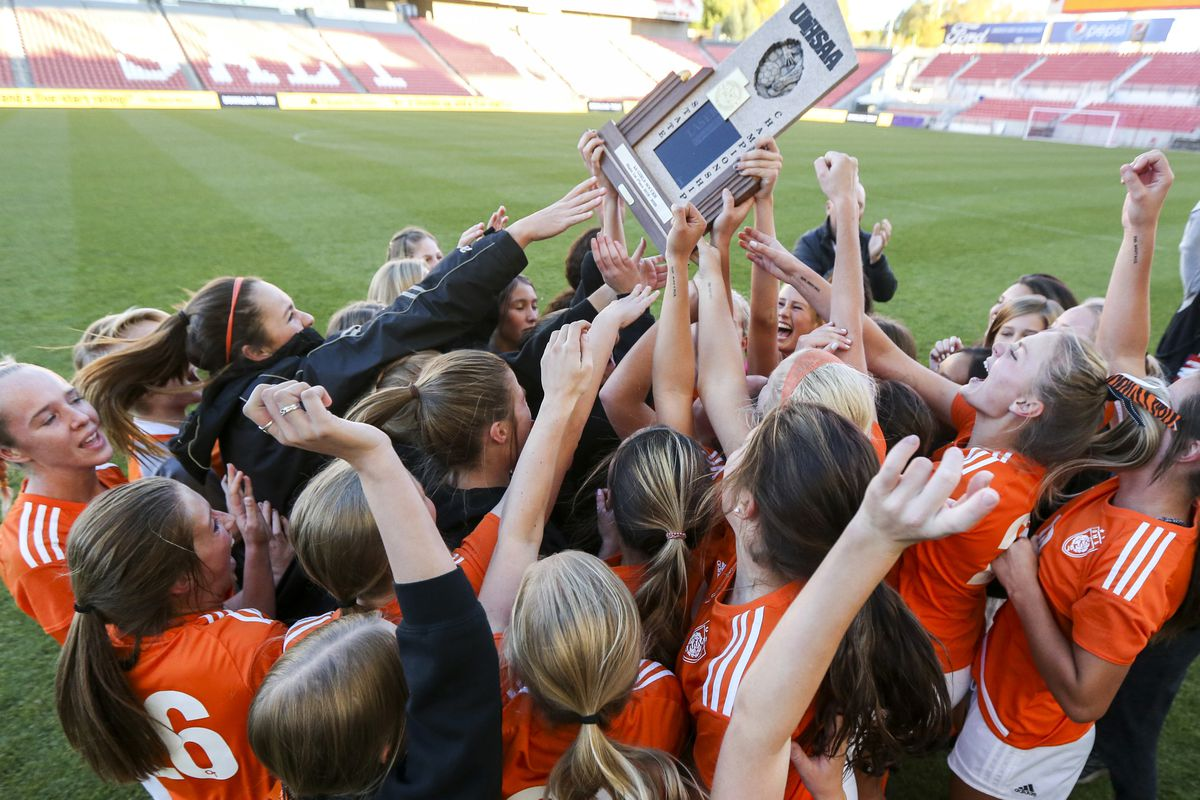 The Ogden girls soccer team celebrates after winning the 4A girls state championship 2-1 over Ridgeline at Rio Tinto Stadium in Sandy on Friday, Oct. 25, 2019.