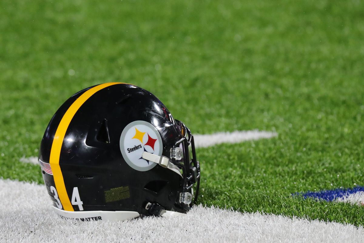 A general view of a Pittsburgh Steelers helmet on the field before a game against the Buffalo Bills at Bills Stadium on December 13, 2020 in Orchard Park, New York.