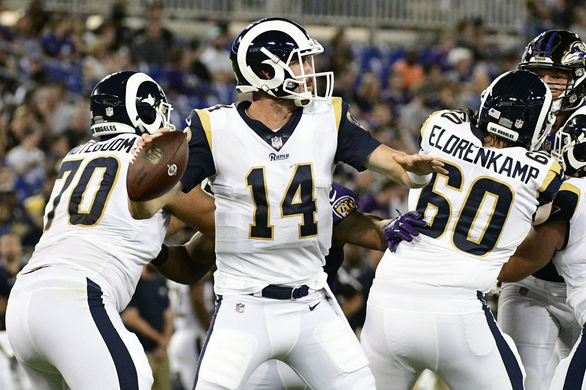 Los Angeles Rams QB Sean Mannion looks to pass against the Baltimore Ravens in the Rams' preseason opener, August 9, 2018.