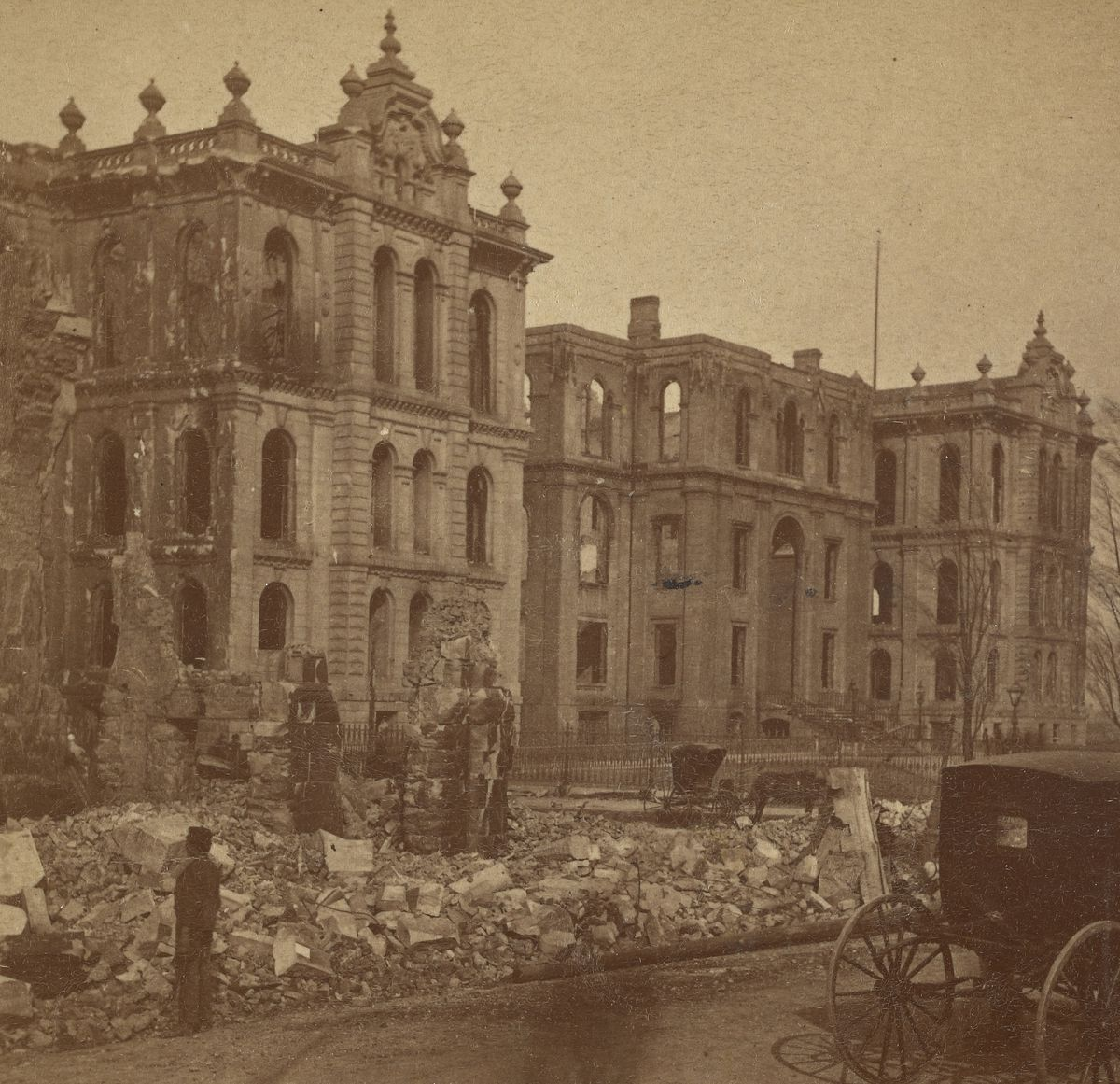 The burned-out Cook County Courthouse after the Great Chicago Fire.