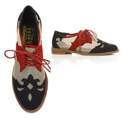 """<b>F-Troupe</b> The Cowboy Lace Up Shoe at <b>Miss KL</b>, <a href=""""http://www.misskl.com/product/The-Cowboy-Lace-Up-Shoe-in-Red-and-Navy/317588"""">$164</a>"""