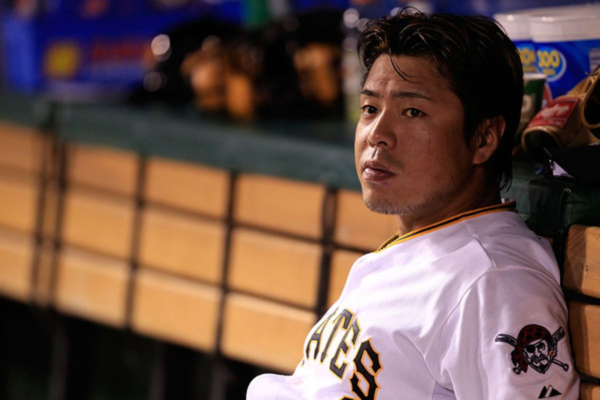 PITTSBURGH - JUNE 01:  Aki Iwamura #3 of the Pittsburgh Pirates sits in the dugout during the game against the Chicago Cubs on June 1, 2010 at PNC Park in Pittsburgh, Pennsylvania.  (Photo by Jared Wickerham/Getty Images)