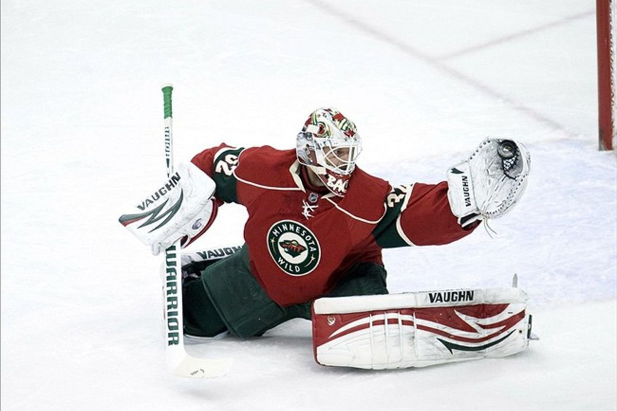 FEB 28, 2012; Minneapolis, MN, USA;  Minnesota Wild goalie Niklas Backstrom (32) makes a save in the first period against the Los Angeles Kings at Xcel Energy Center.  Mandatory Credit: Marilyn Indahl-US PRESSWIRE