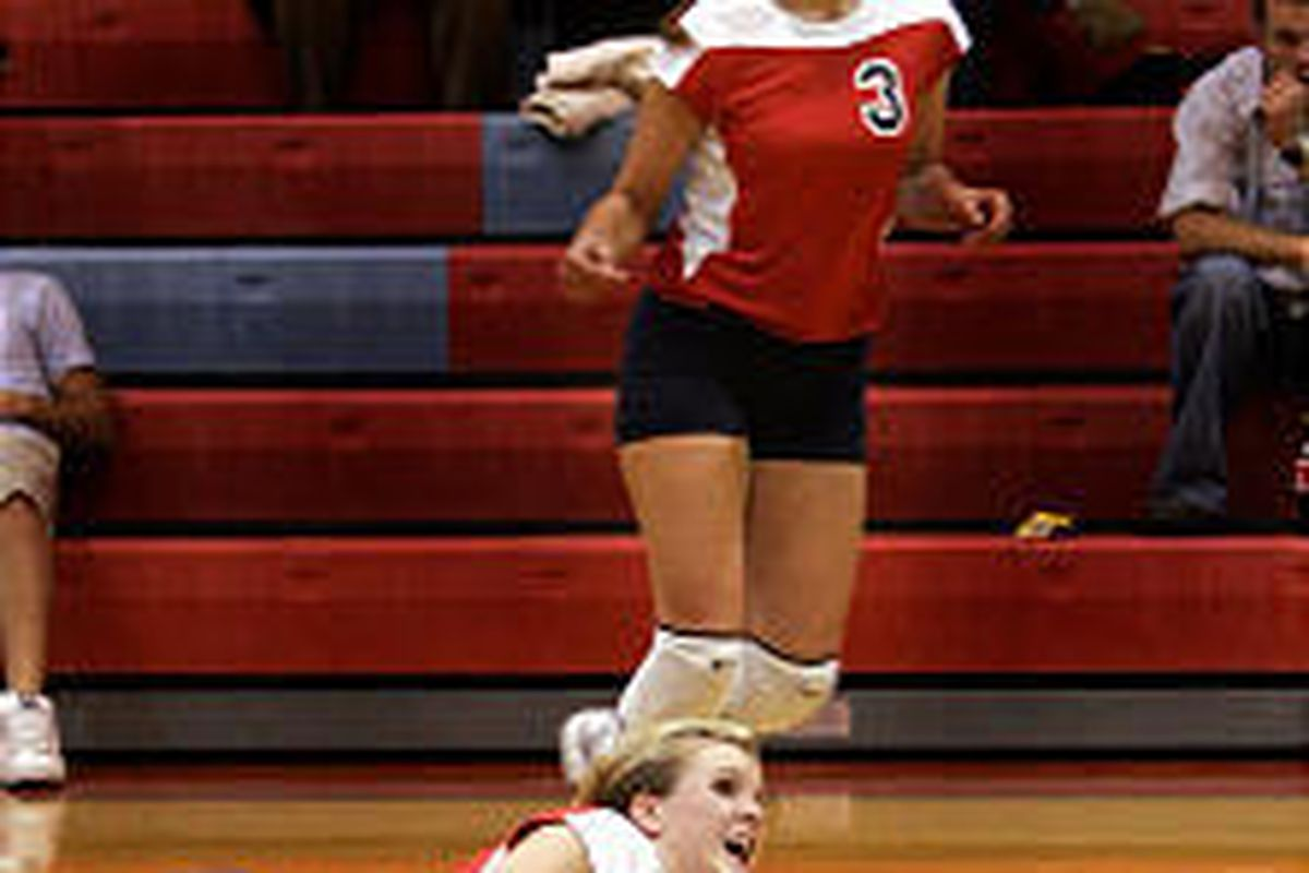 Springville High's Nikki Sly gets a pancake during Tuesday's contest.