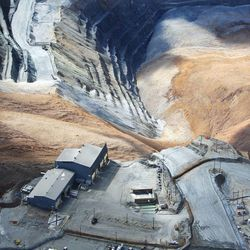 A landslide at Kennecott Utah Copper's Bingham Canyon Mine, which occurred Wednesday, April 10, 2013, is shown Thursday, April 11, 2013.