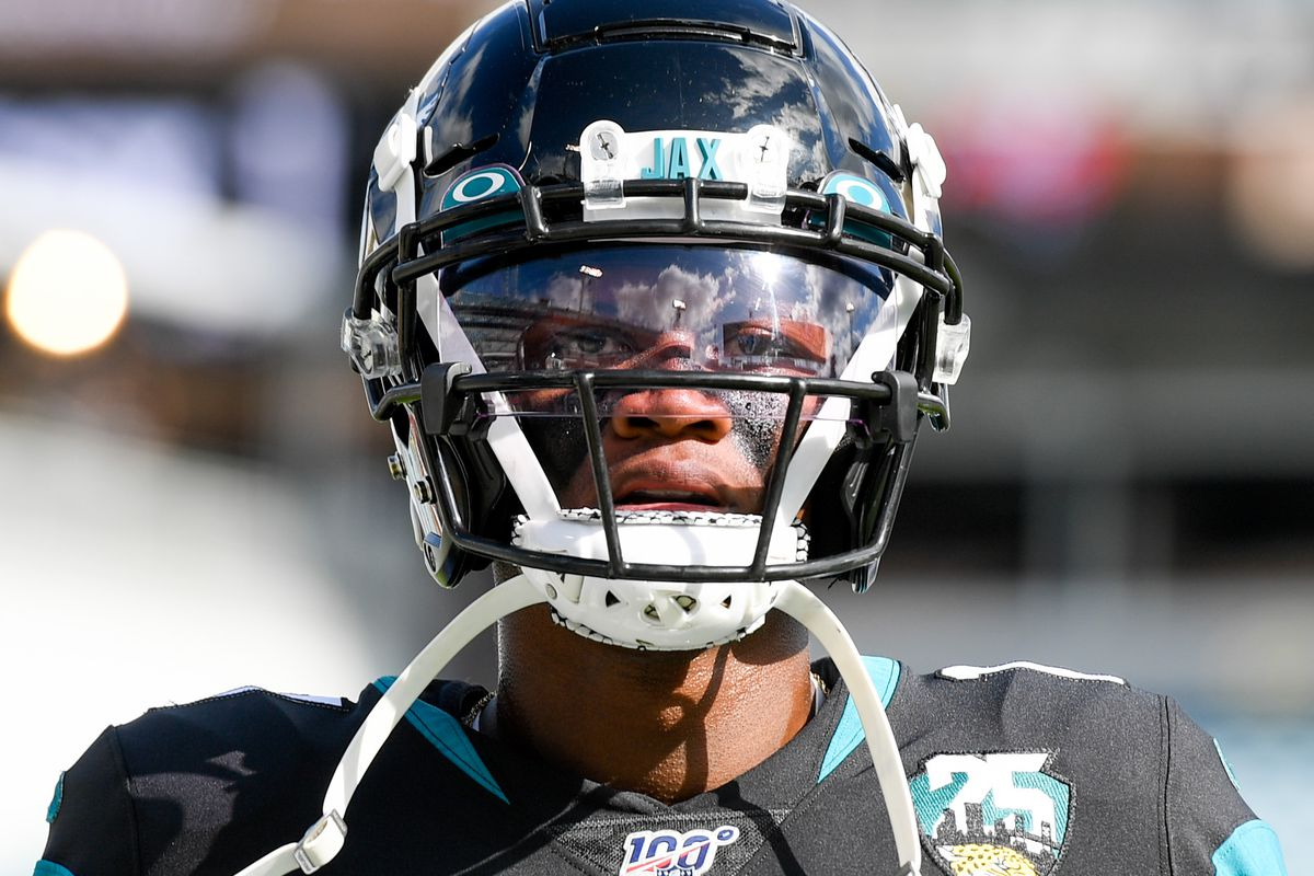 Jacksonville Jaguars wide receiver D.J. Chark looks on prior to the game between the Jacksonville Jaguars and the Tampa Bay Buccaneers at TIAA Bank Field.