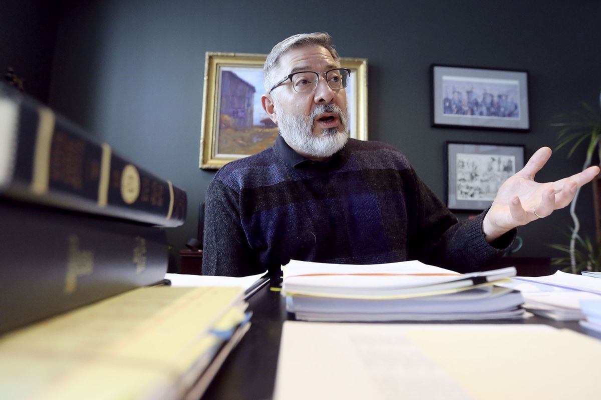 Utah Supreme Court Justice Deno Himonas answers questions during an interview in his office at the Matheson Courthouse in Salt Lake City on Friday, Jan. 17, 2020.