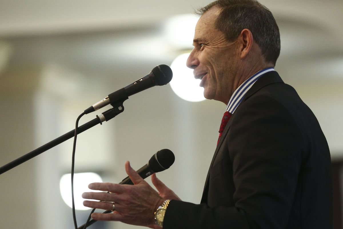 Rep. John Curtis, R-Utah, speaks during the March for Life at the Capitol in Salt Lake City on Saturday, Jan. 26, 2019.