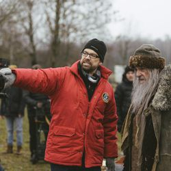 """Director Adam Thomas Anderegg, left, stands with John Rhys-Davies, who plays Martin Avdyeitch in BYUtv's """"Winter Thaw."""""""