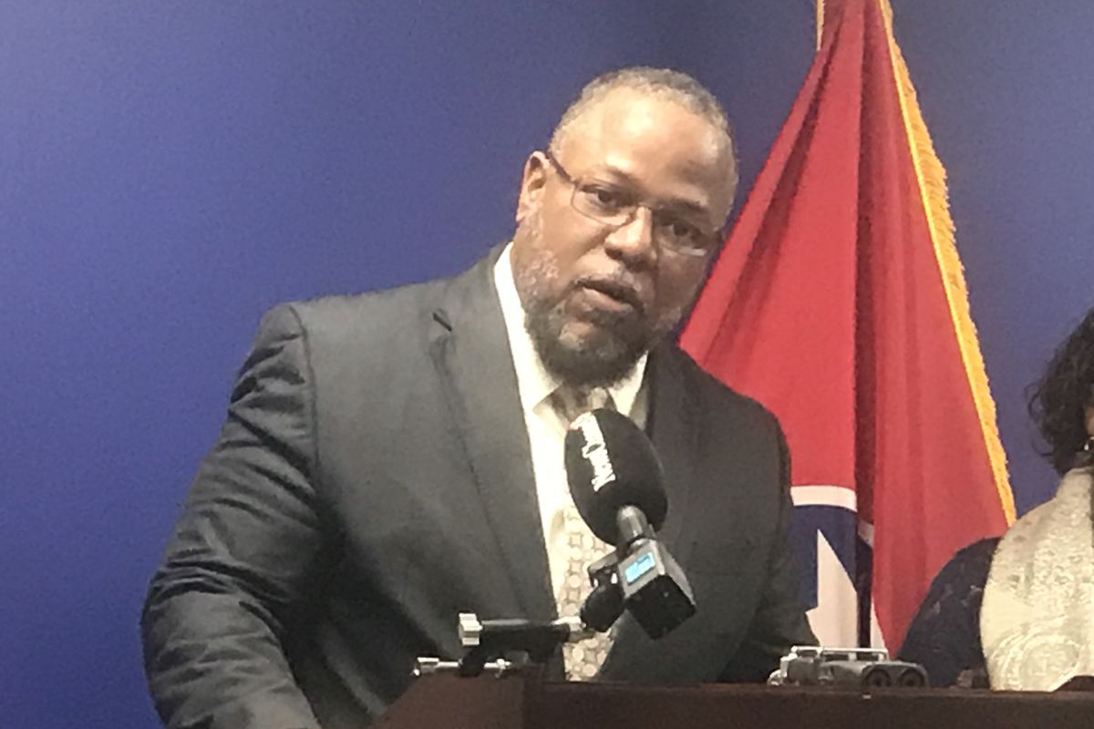 Rep. Antonio Parkinson speaks at a press conference at the State Capitol in April. On Thursday, the Memphis Democrat criticized the state Education Department's guidance to school districts for informing parents that certain student groups in their schools are underperforming.