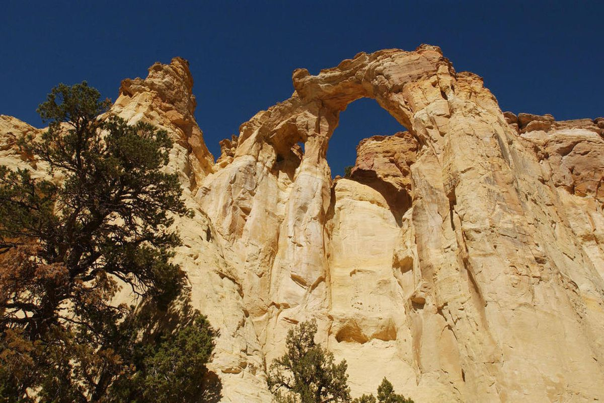 FILE - Grosvenor Arch, Escalante National Monument, Grand Staircase on September 14, 2003. The Utah Senate gave final legislative approval Wednesday to a resolution calling for reducing the size of the Grand Staircase-Escalante National Monument, designat