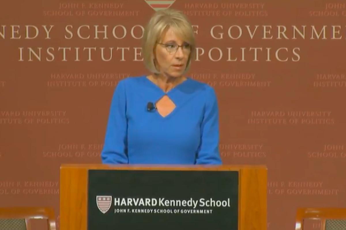 U.S. Education Secretary Betsy DeVos at Harvard.
