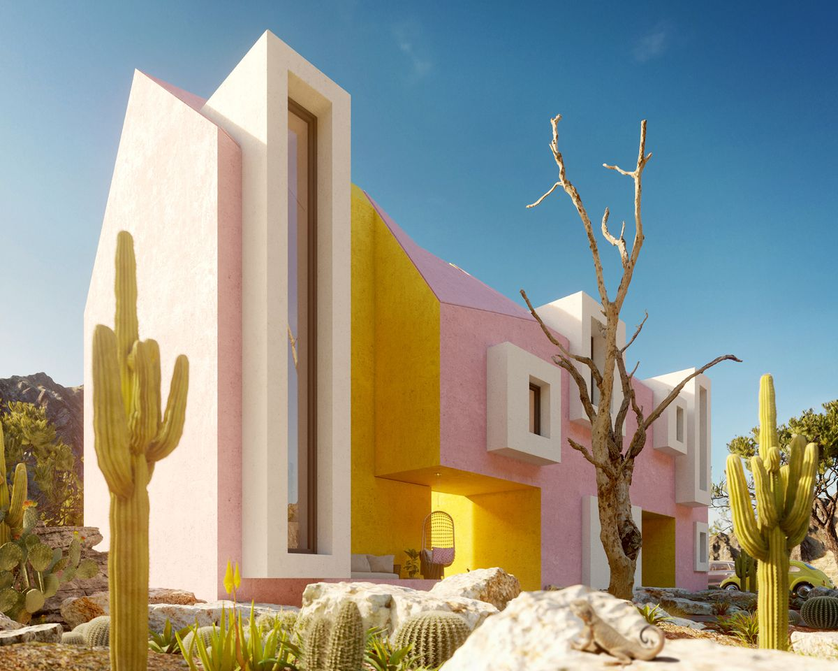 A rendering of pink and yellow house with cacti and white windows.