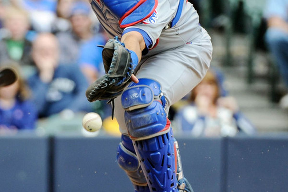 Milwaukee, WI, USA;  Chicago Cubs catcher Geovany Soto is unable to catch a ball bunted foul by Milwaukee Brewers pinch hitter Norichika Aoki at Miller Park. Credit: Benny Sieu-US PRESSWIRE