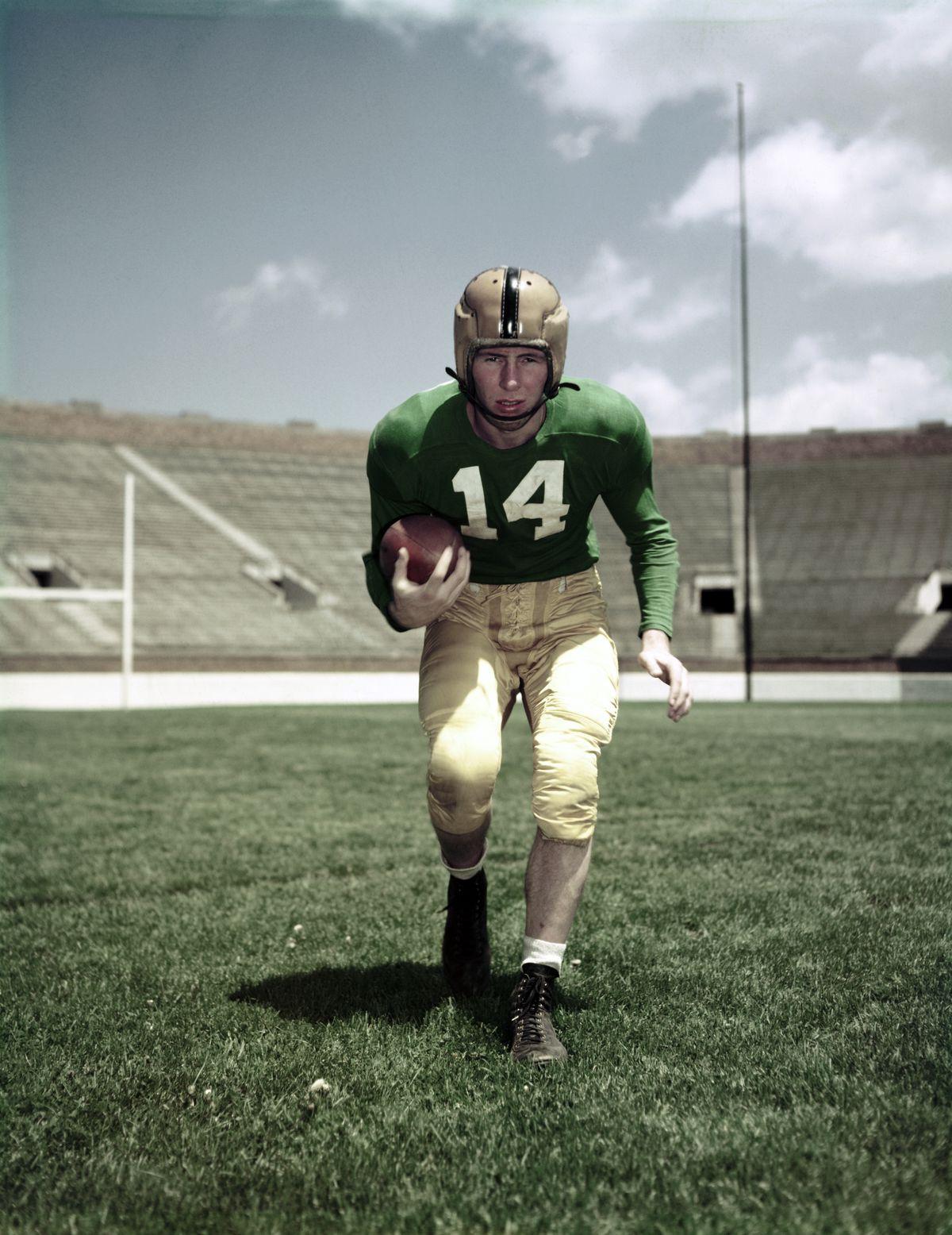 Johnny Lattner Holding Football Under Arm Notre Dame