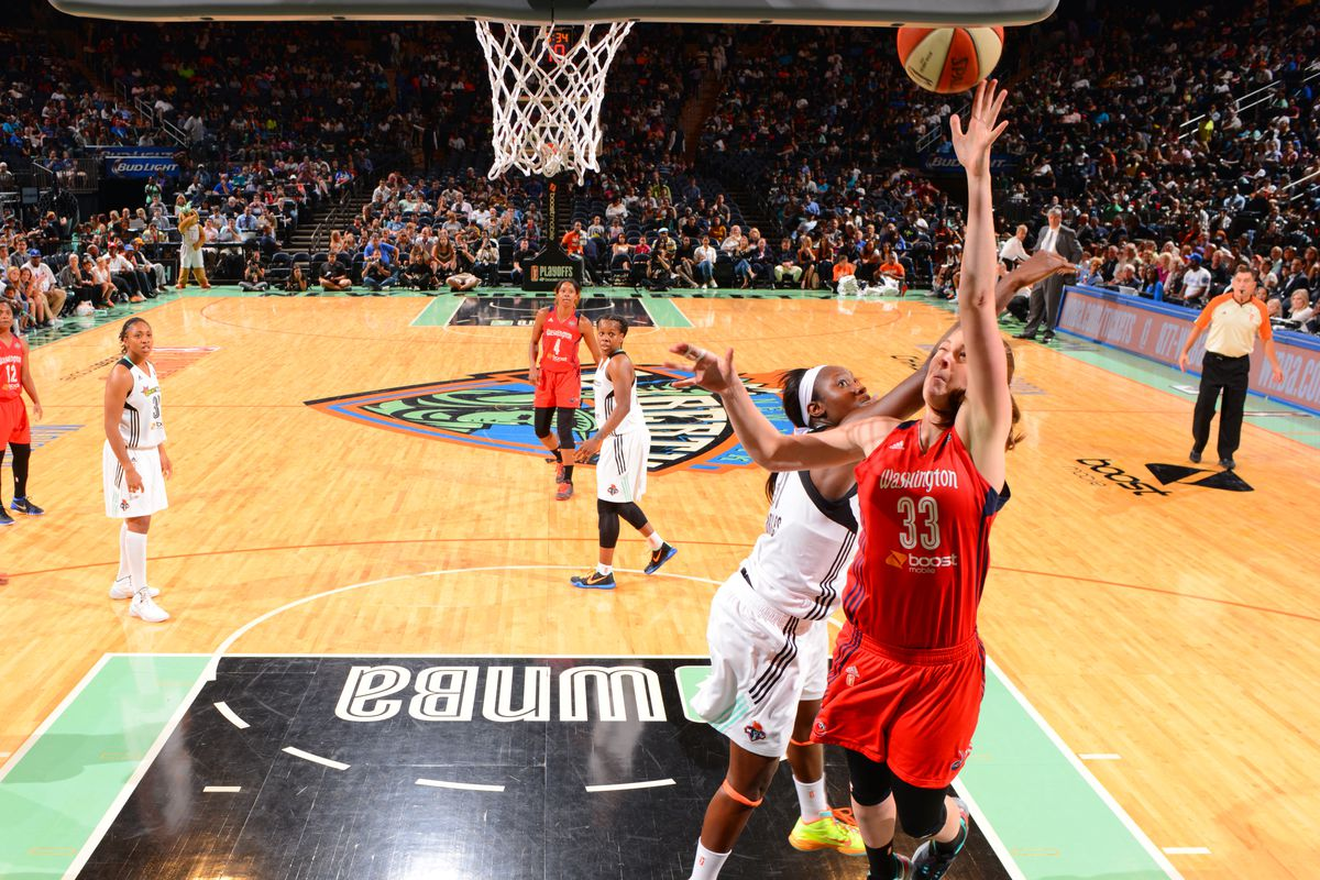 NEW YORK,NY - SEPTEMBER 18: Emma Meesseman #33 of the Washington Mystics goes up for the layup against the New York Liberty during game One of the WNBA Semi-Finals at Madison Square Garden on September 18, 2015 in New York, New York