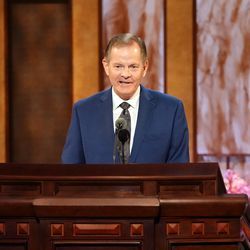 Elder Gary E. Stevenson speaks during the Saturday morning session of the 191st Annual General Conference on April 3, 2021.