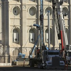 Renovation of the Salt Lake Temple in Salt Lake City continues on Wednesday, Sept. 30, 2020.