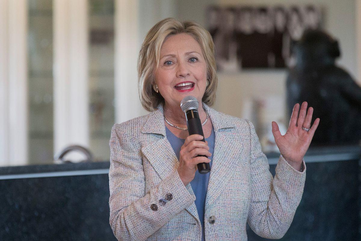 Clinton speaks in Iowa in July.