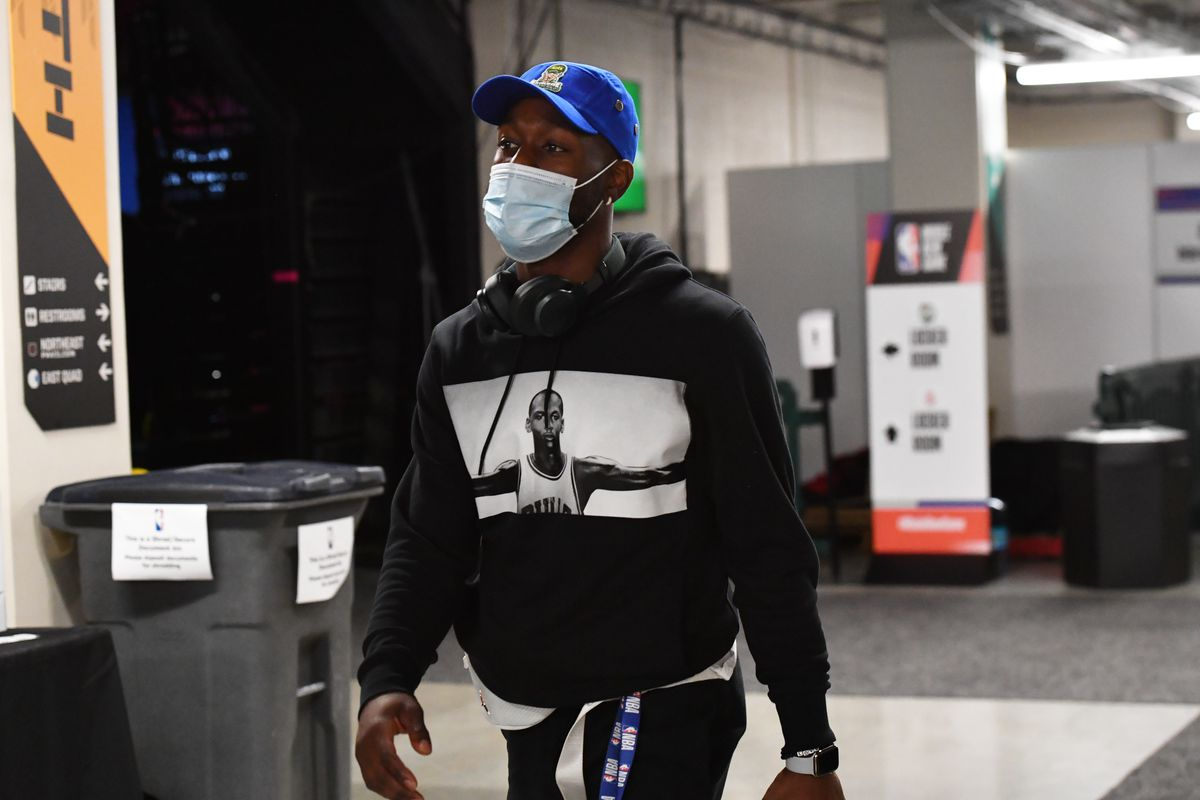 Kemba Walker of the Boston Celtics exits the arena after a game against the Portland Trail Blazers on August 2, 2020 at The Arena at ESPN Wide World Of Sports Complex in Orlando, Florida.