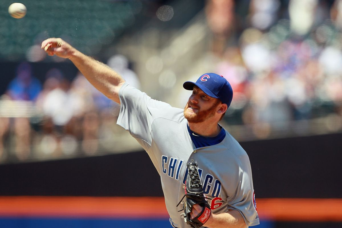Ryan Dempster of the Chicago Cubs pitches against the New York Mets at CitiField in the Flushing neighborhood of the Queens borough of New York City.  (Photo by Mike Stobe/Getty Images)