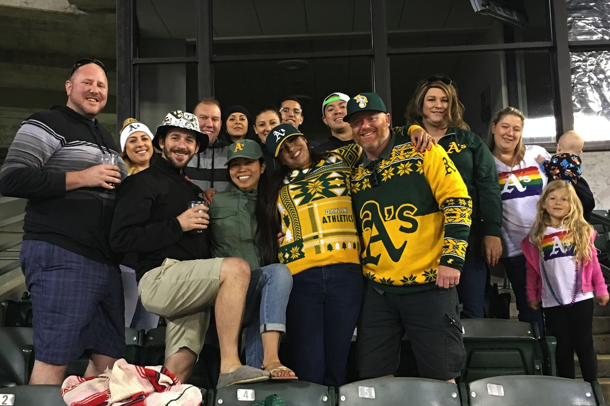Jamie Neal had over a dozen friends come out to support her at the Oakland A's Pride Night.