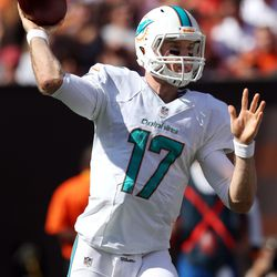 Sep 8, 2013; Cleveland, OH, USA; Miami Dolphins quarterback Ryan Tannehill (17) throws a pass against the Cleveland Browns during the third quarter at FirstEnergy Field. The Dolphins won 23-10.
