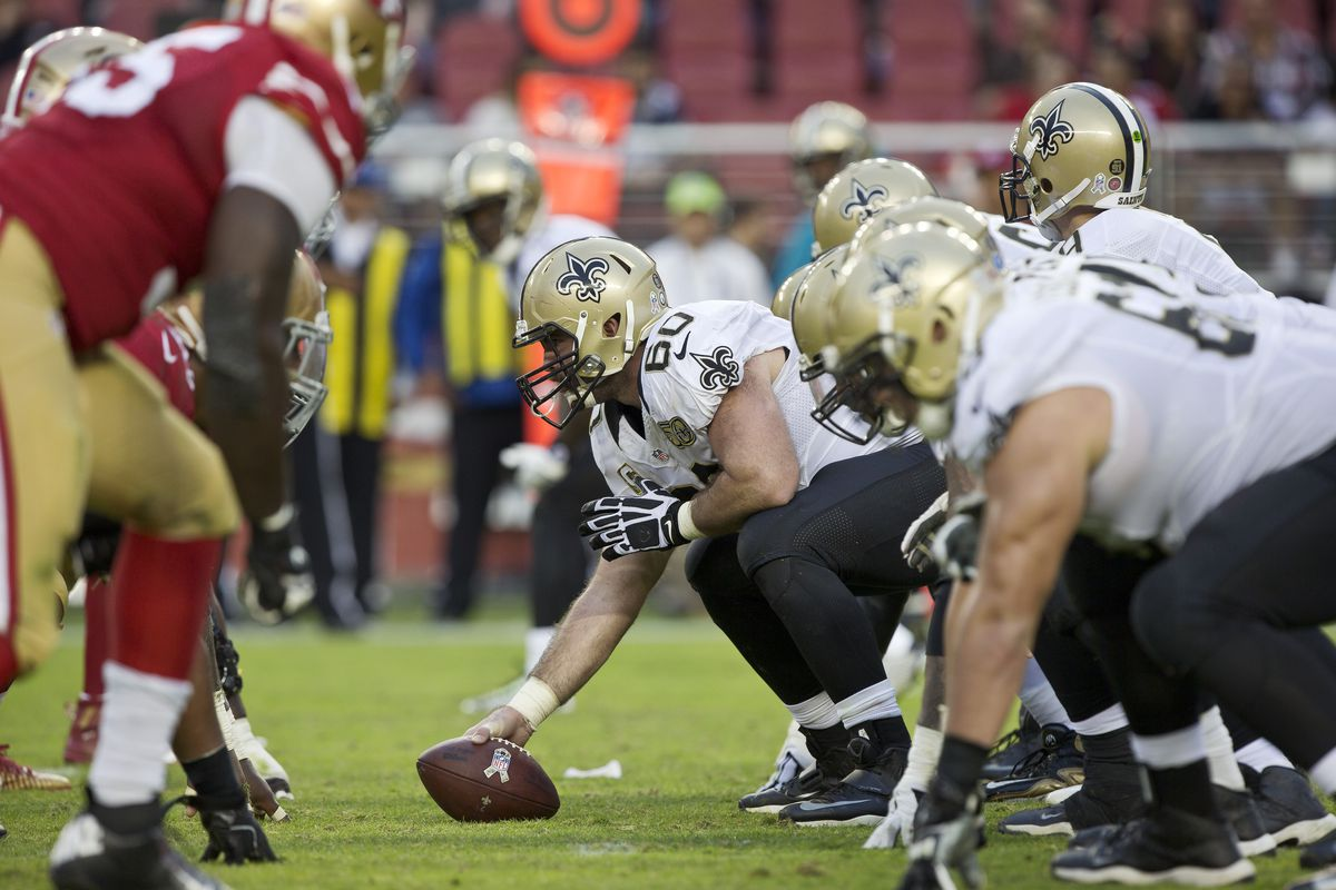SANTA CLARA, CA - Center Max Unger #60 of the New Orleans  Saints prepares to snap the ball against the San Francisco 49ers in the  fourth quarter on November, 6 2016 at Levi's Stadium.